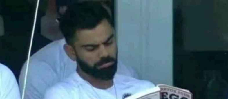 Fans troll Captain Kohli for reading 'Detox your Ego' during match.jpeg