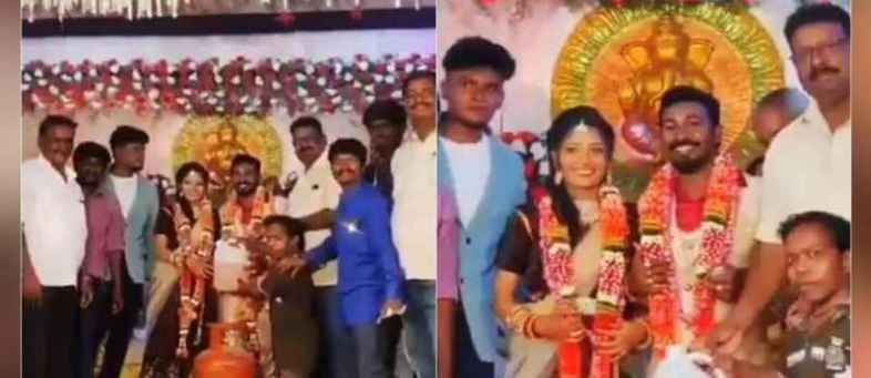 Wedding gift of petrol, onion and gas cylinder to couple in Tamil Nadu.jpg