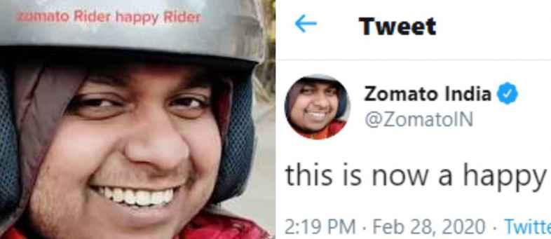 Zomato change their DP on Twitter with picture of delivery boy Sonu.jpg
