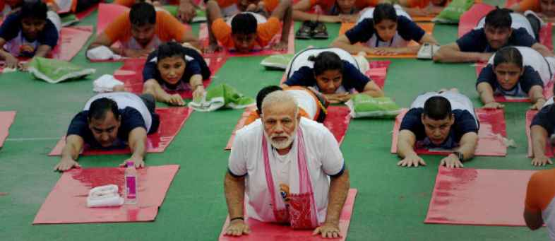 World Yoga Day - Modi's preparations begin tweeted video of Trikonasana.jpg