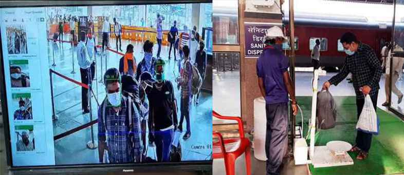 Thermal camera and touch free luggage sanitizing machine installed at Kalupur railway station.jpg