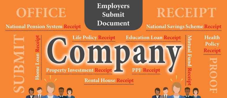 Employers need to submit Receipt of Life Policy,Health Policy, National Pension System, National Savings Scheme, Mutual Fund, PPF, Rental House, Property Investment, Home Loan, Education Loan from December to March.jpg